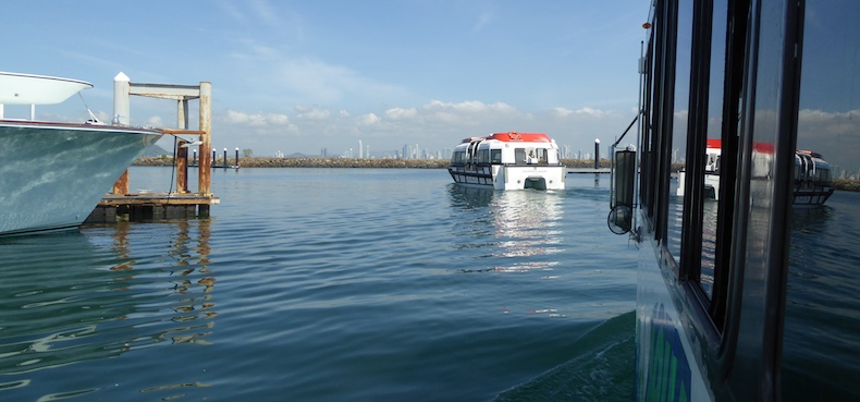 The Aquabus is now in the water, following the ship's tender out to sea!
