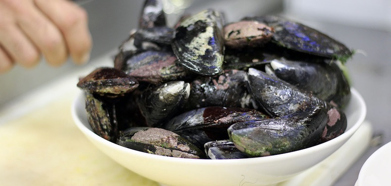 A huge bowl of steamed Mussels to share