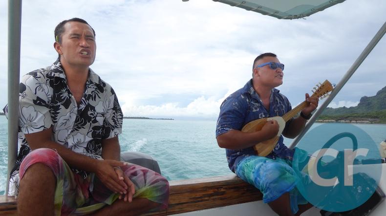 Rai and Ari'i sing Polynesian songs as we sail through the waters surrounding Bora Bora