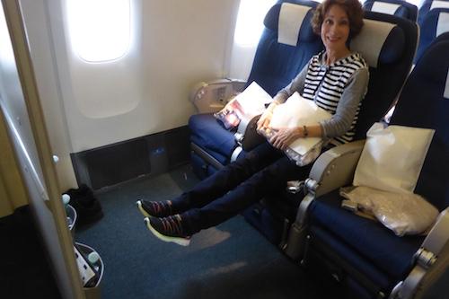 No shortage of legroom with the bulkhead Premium Economy seats on the 777-200