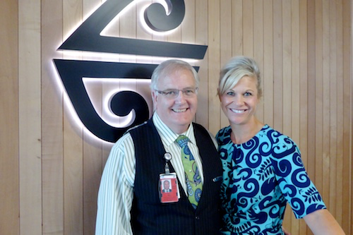 Del and Wayne take care of Air New Zealand guests in Christchurch