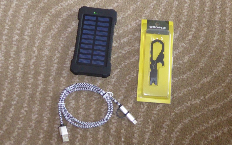 Battery charger, dual-port cable and optional multi-function tool