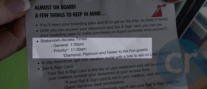 Boarding card on Carnival | CruiseReport