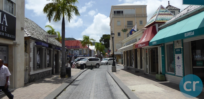 Philipsburg's Front Street is virtually empty today