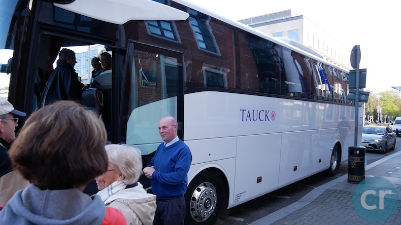 Guests board the Tauck motor coach for the morning tour of Dublin