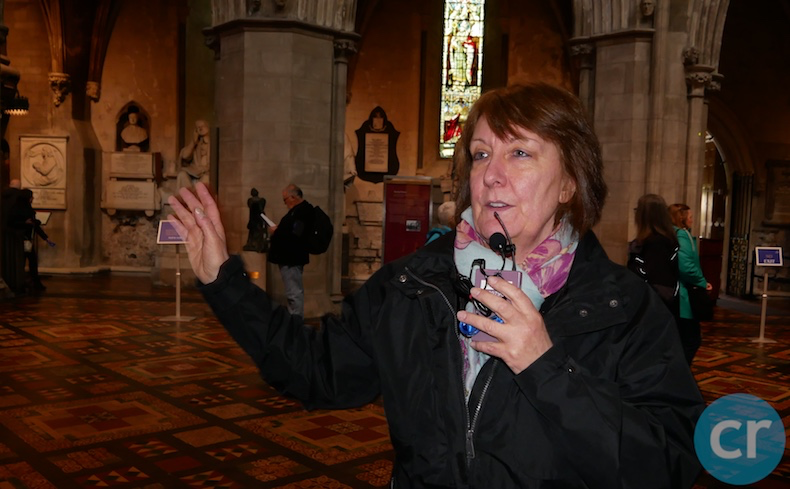 Local guide, Carol, guides a tour of St. Patrick's