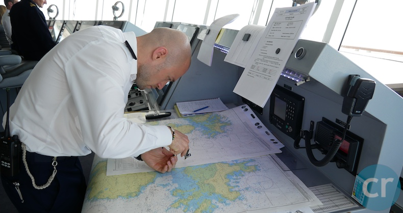 Bridge officers still use paper charts in addition to computerized charts