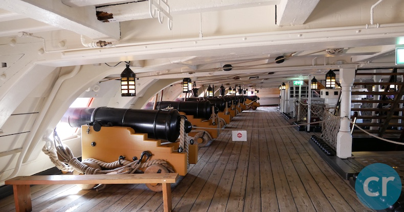 Cannons on one of the upper decks