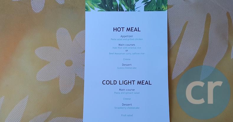 In-flight menu