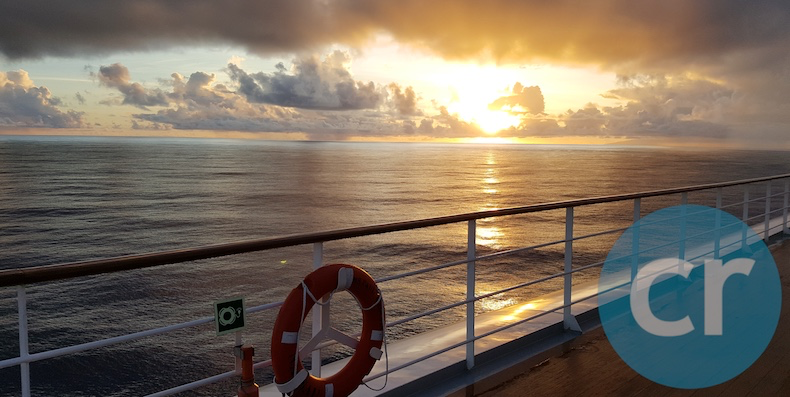 Sunrise in Moorea, Society Islands, captured from deck on m/s Paul Gauguin