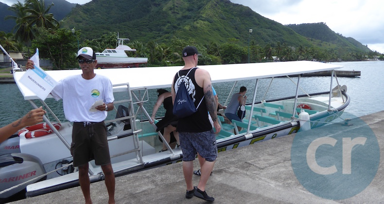 Outrigger in Moorea to take m/s Paul Gauguin guests to the Catajet excursion