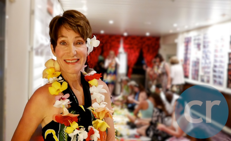 Rickee with her self-made fresh flower lei