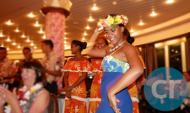 Les Gauguines entertaining during dinner in L'Etoile restaurant on Polynesian Night aboard m/s Paul Gauguin