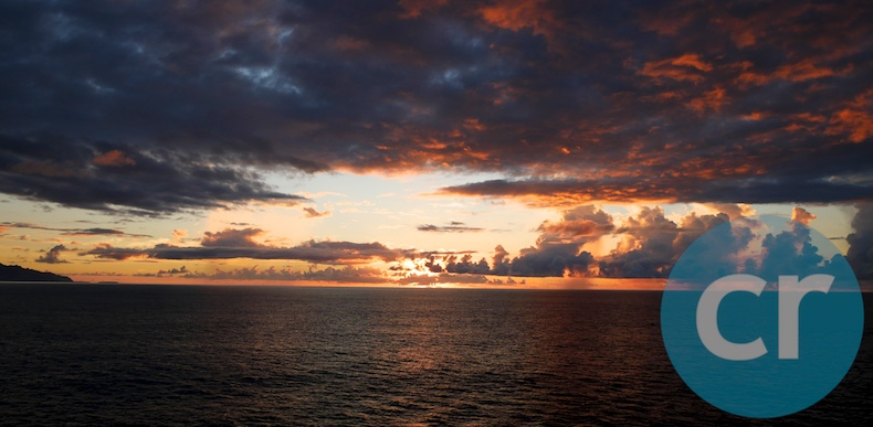 Beautiful sunset as seen from deck of m/s Paul Gauguin in Moorea, Society Islands
