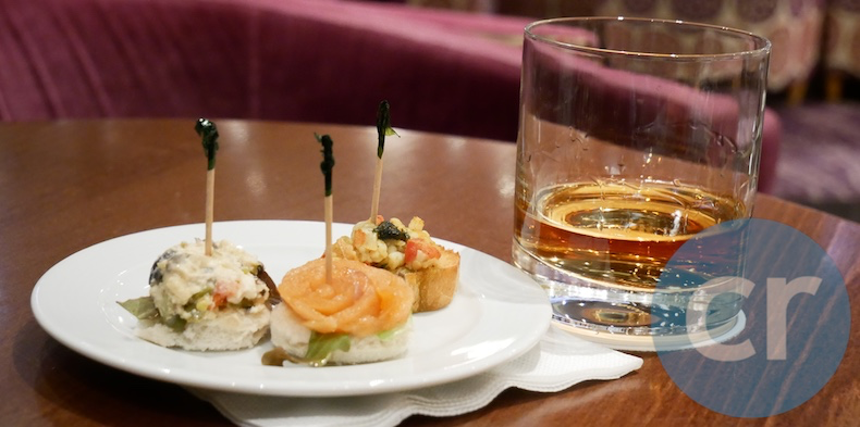 Canapés served in Piano Bar aboard m/s Paul Gauguin in Moorea, Society Islands