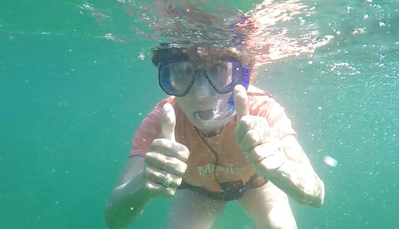 Rickee snorkeling in King's Pond