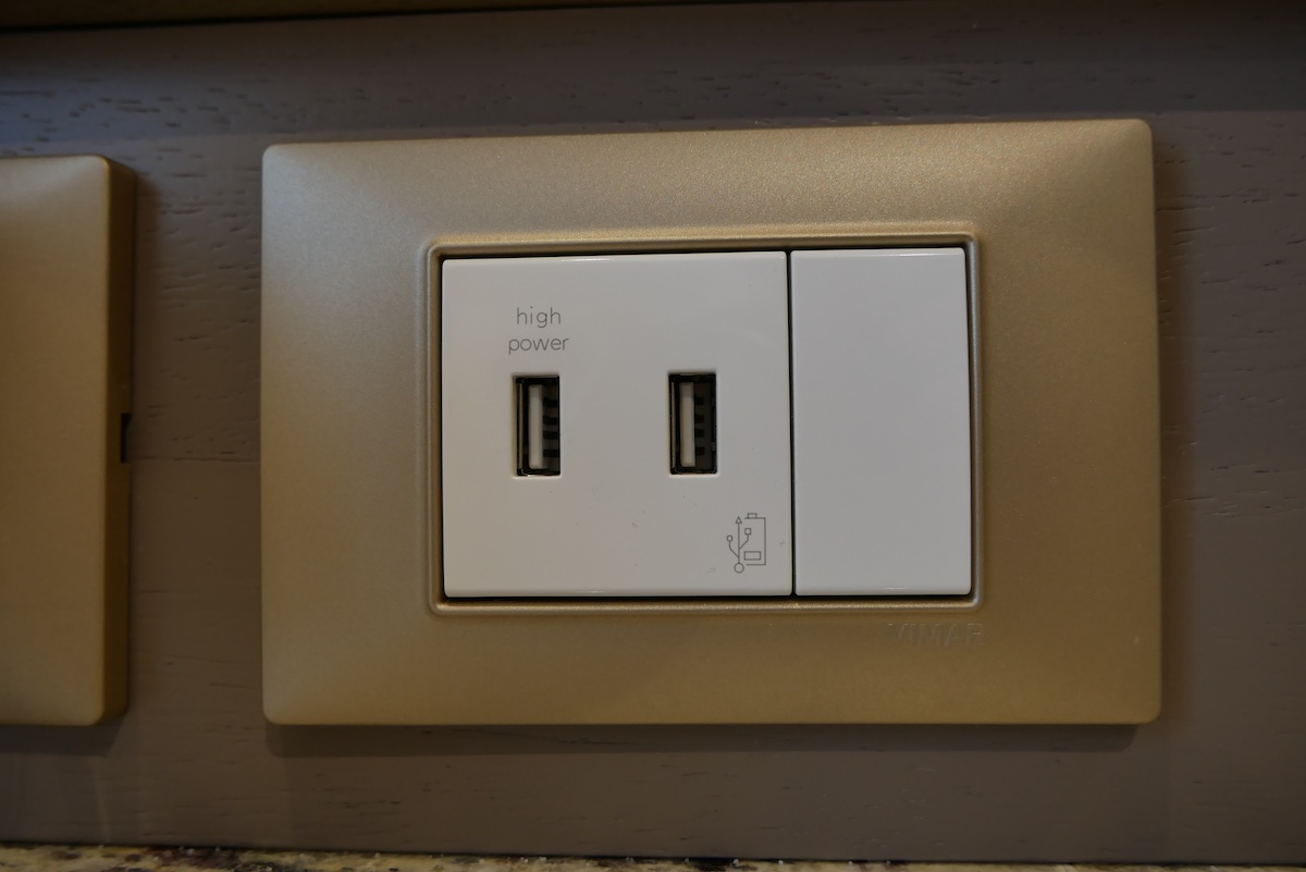 Two USB power ports on desk