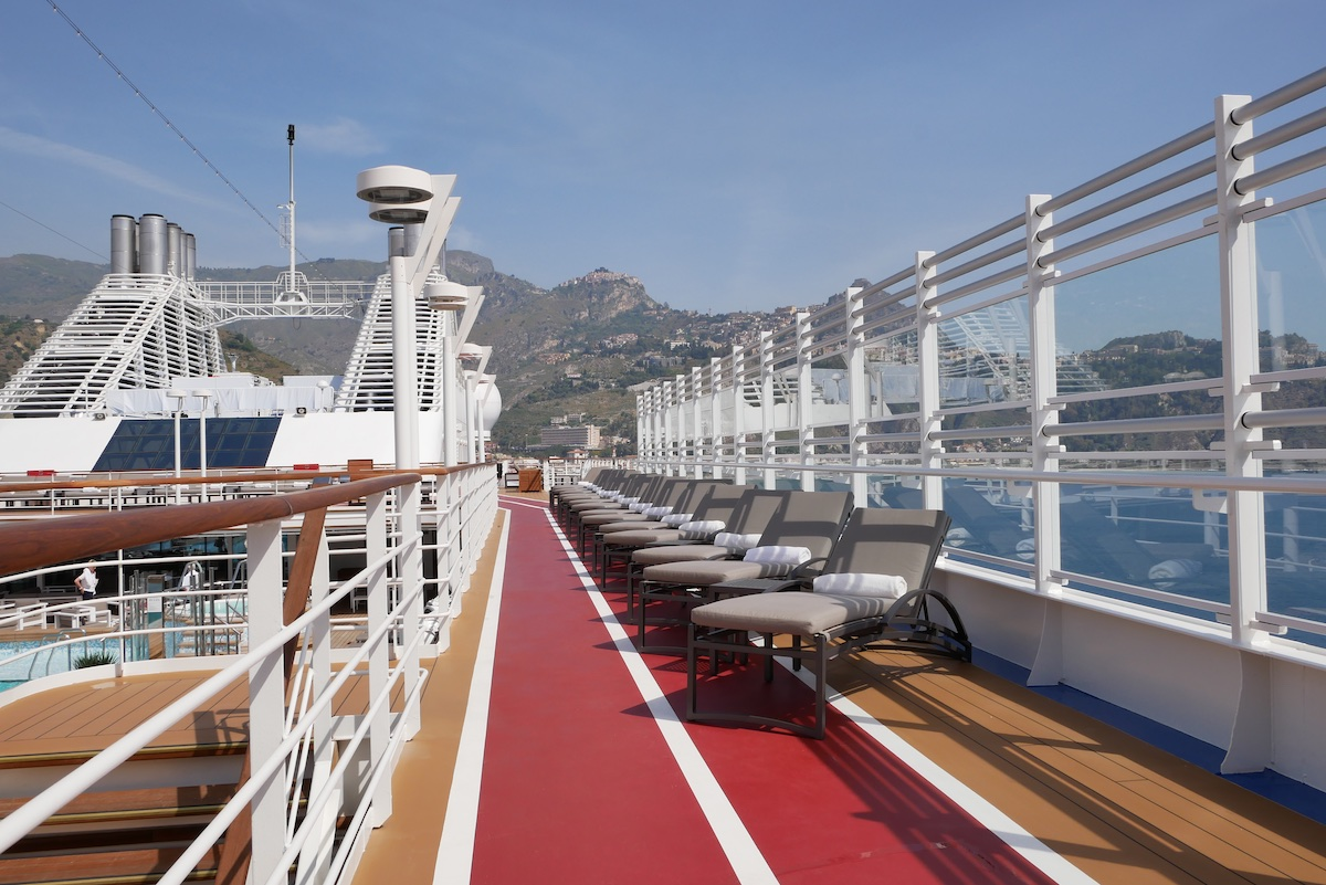 Jogging track and loungers on Deck 11