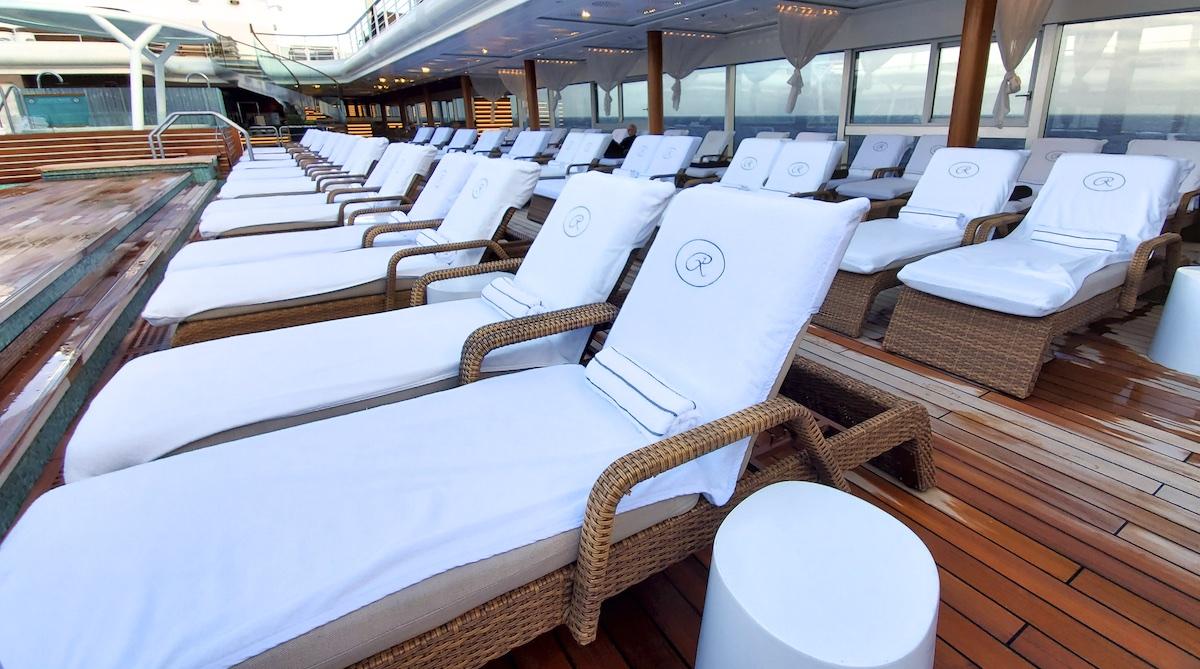 Comfortable pool loungers | Seven Seas Explorer | CruiseReport