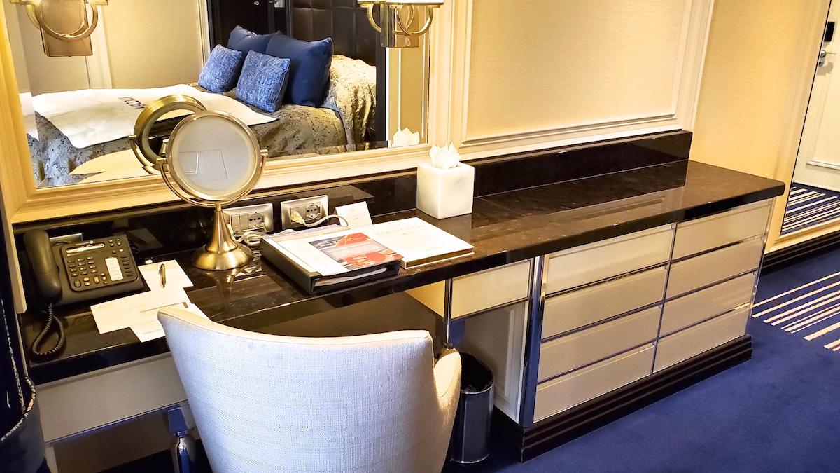Desk and storage in Superior Suite | Seven Seas Explorer | CruiseReport