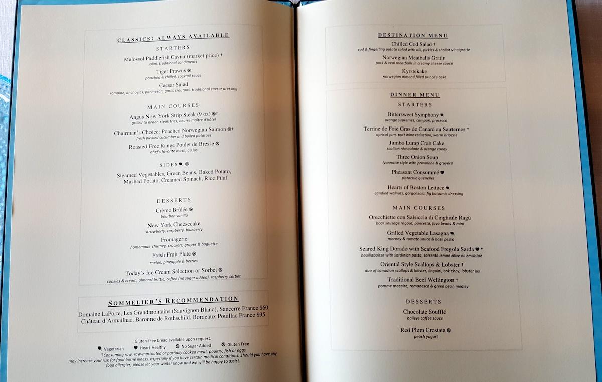 Restaurant menu | Viking Sky | CruiseReport