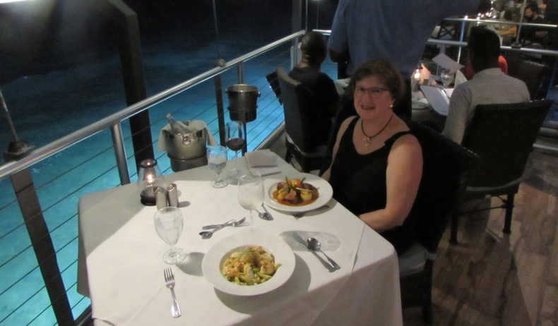 Dining over the water at Champers.