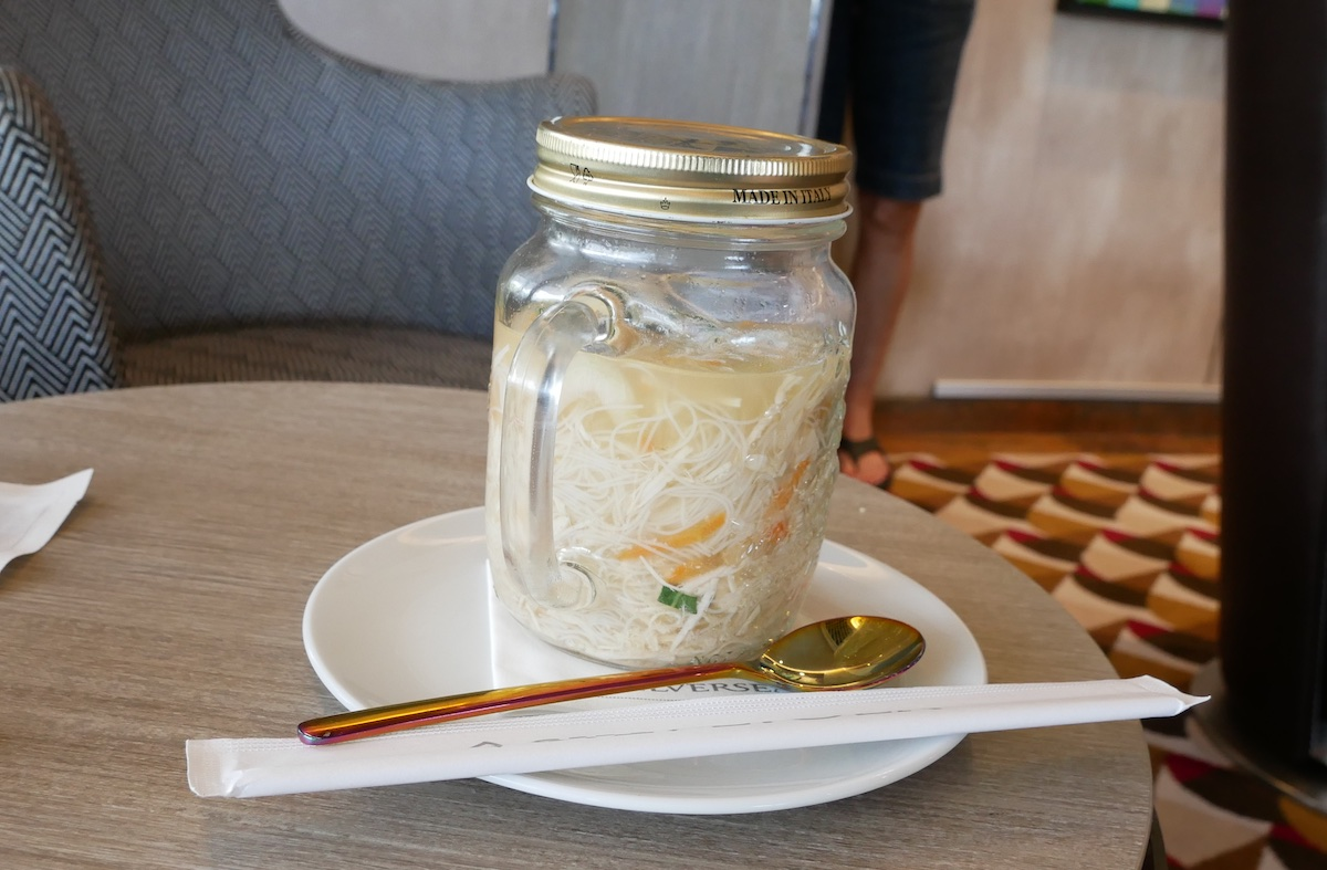 A delicious jug of chicken noodle soup
