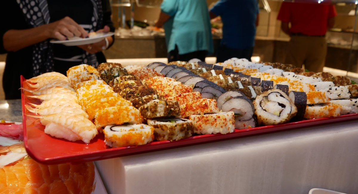 Fresh sushi and cocktail shrimp appear on the buffet each day at lunch