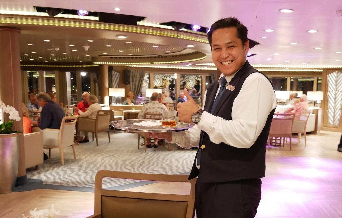 Waiter at Panorama Lounge | Silver Spirit | CruiseReport