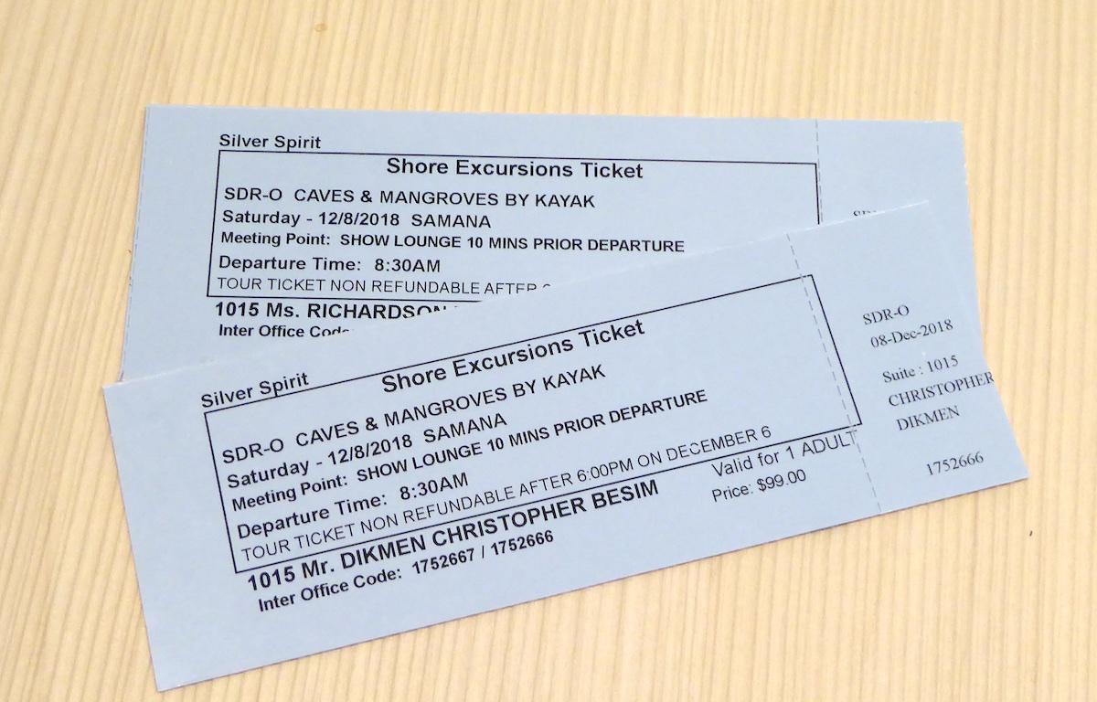 Excursion tickets | Silver Spirit | CruiseReport