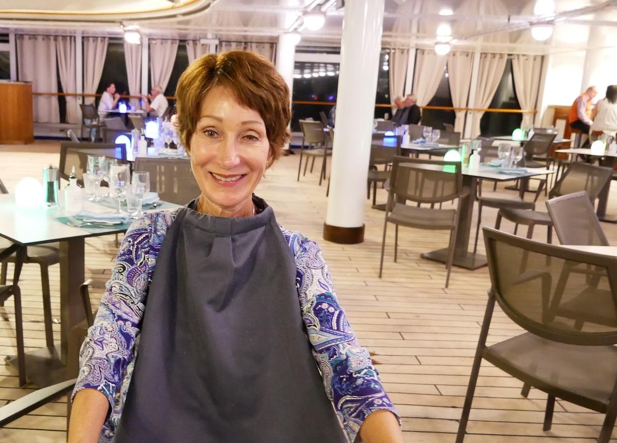 Rickee Richardson about to dine at Hot Rocks | Silversea Silver Spirit | CruiseReport.jpg