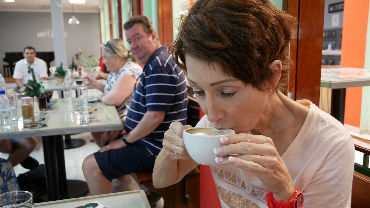 Rickee tries coffee for the first time in San Juan | Silversea Silver Spirit | CruiseReport.jpg