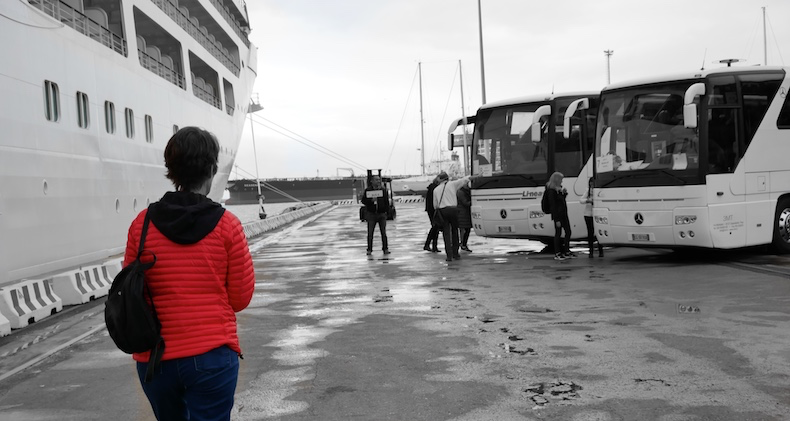 Motor coaches for excursions waiting on the pier in Livorno, Italy | Silversea Silver Muse | CruiseReport