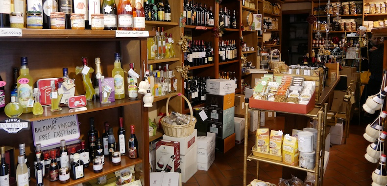 The selection of oils and vinegars at La Boutique dei Golosi