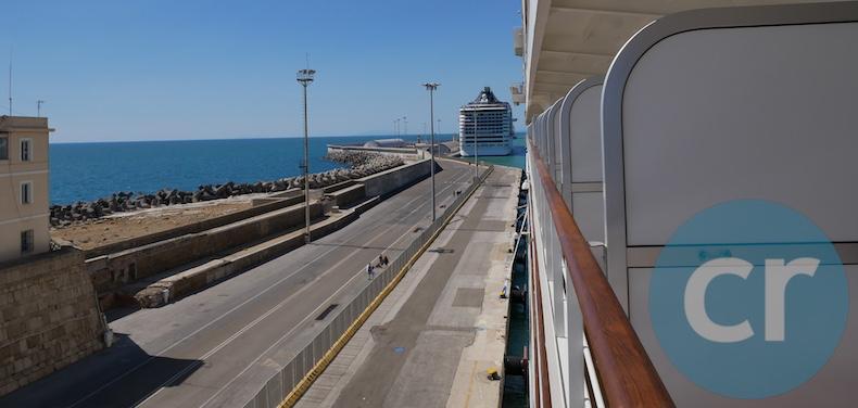 Silver Muse docked in Civitavecchia (MSC Splendida is in front of us)