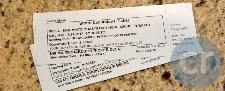 Excursion tickets for Sorrento, Italy | Silversea Silver Muse | CruiseReport