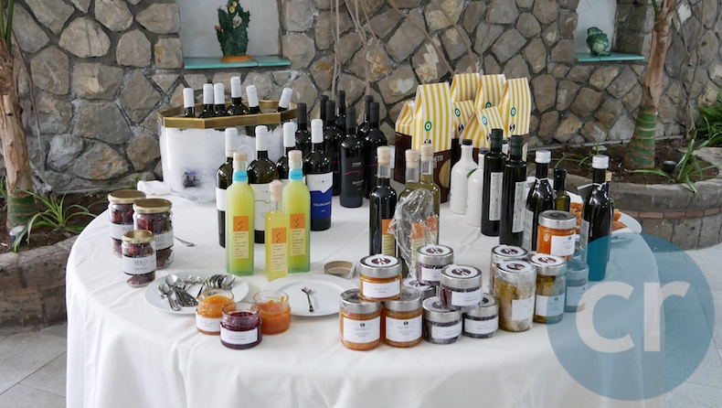 Table holding locally-sourced products at Quattro Passi in Nerano, Italy | Silversea Silver Muse | CruiseReport