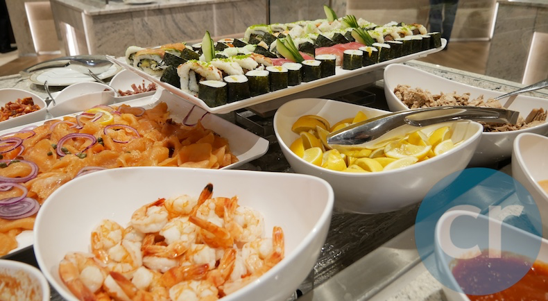 Fresh seafood station on lunch buffet