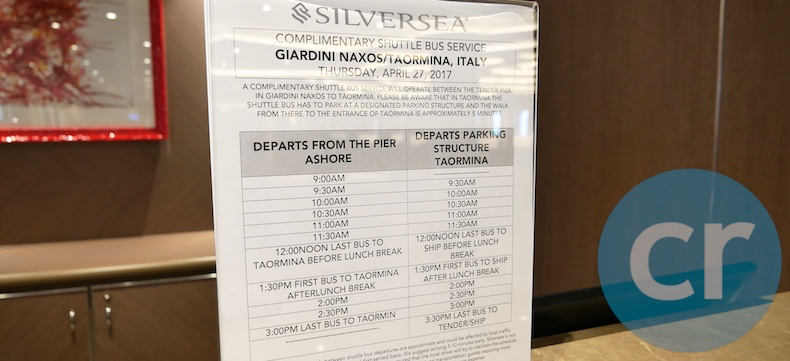 Schedule for complimentary shuttle bus from pier to Taormina