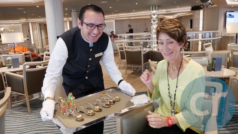 Delicious appetizers are served before dinner in the Panorama Lounge | Silversea Silver Muse | CruiseReport
