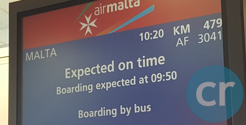 Signage at gate in Pairs airport for Air Malta flight | Silversea Silver Muse | CruiseReport