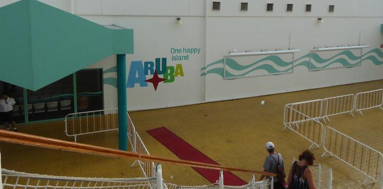 Exiting the ship to the Aruba Cruise Terminal