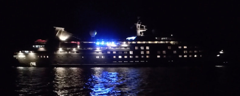 Star Pride at night anchored in Rodney Bay, St. Lucia