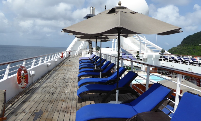 Loungers and umbrellas on Deck 8