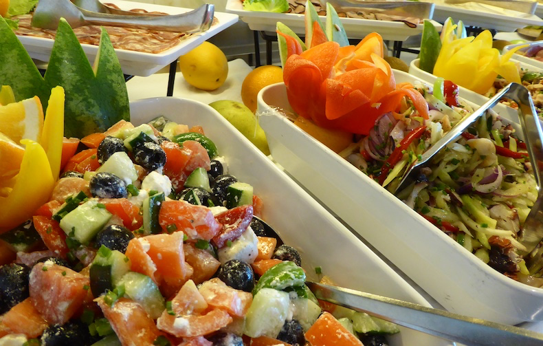 Colorful and tasty salads offered at Veranda