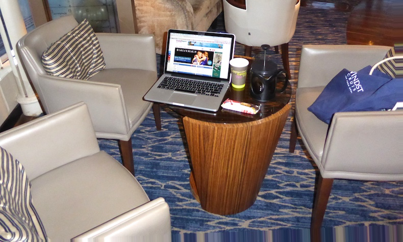 My morning workstation in Yacht Club