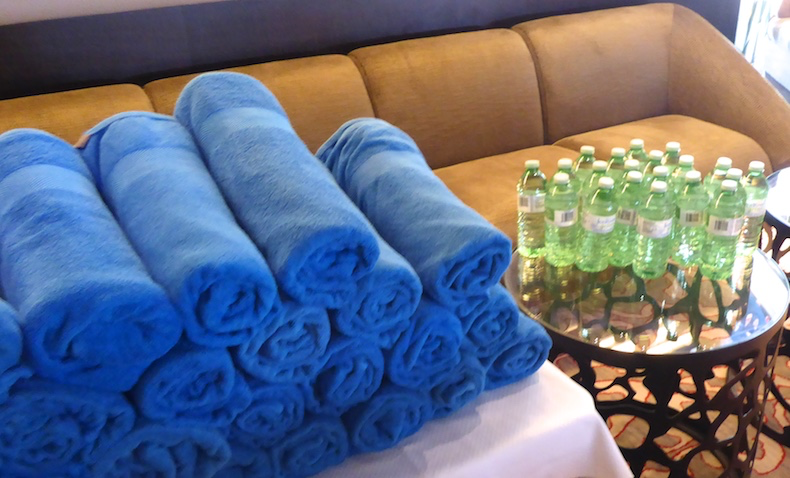 Towels and bottled water
