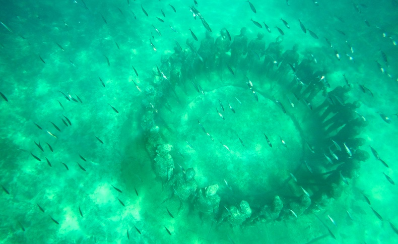 A ring of statues standing tall on the ocean floor