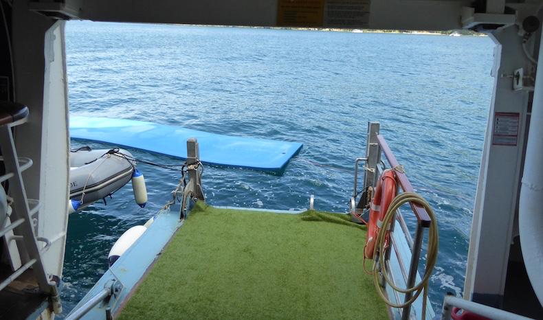 Mini-marina open on port side