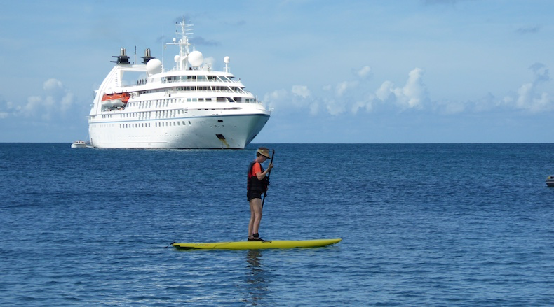Rickee tries the paddleboard for the first time